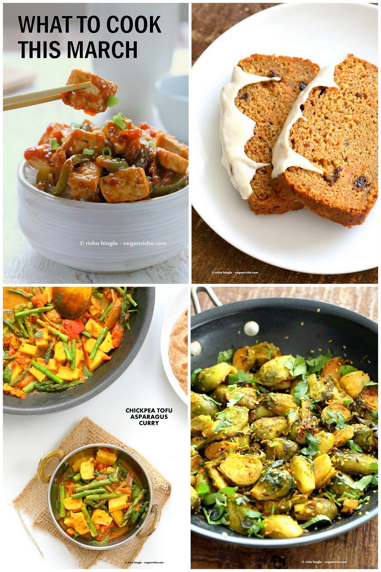 What to cook in March - Asparagus Brussels Sprouts Cabbage Carrots Recipes #vegan #recipes #march #seasonal #veganricha