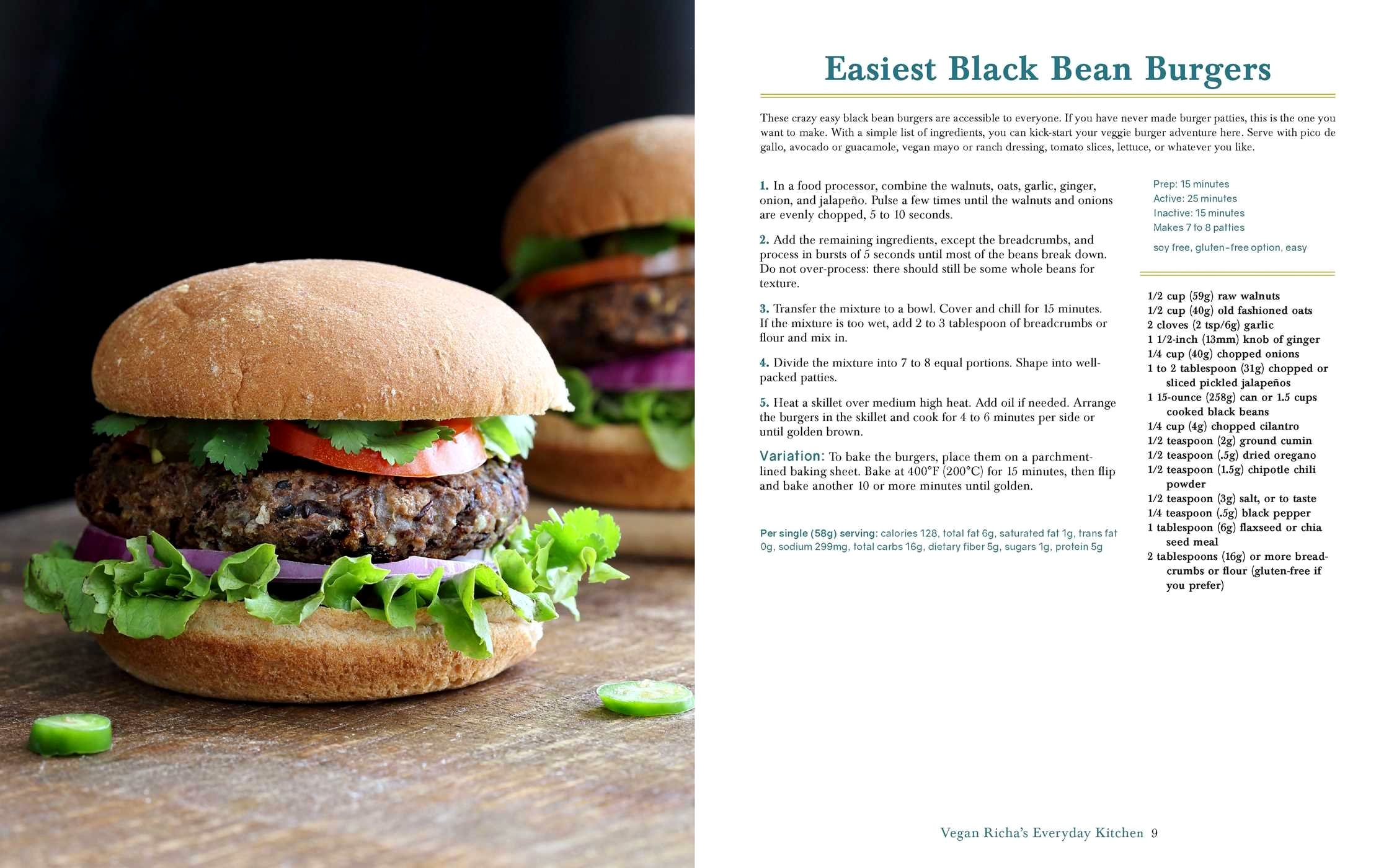 Black Bean Burgers from Vegan Richa's Everyday Kitchen, available to Preorder everywhere where books are sold.