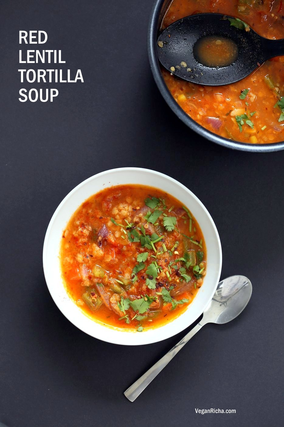 Easy Tortilla Soup with Red lentils. 1 Pot 30 minutes! Add veggies of choice, garnish with tortilla chips or avocado. Vegan Gluten-free Soy-free Nut-free Recipe Vegetarian Tortilla Soup | VeganRicha.comEasy Tortilla Soup with Red lentils. 1 Pot 30 minutes! Add veggies of choice, garnish with tortilla chips or avocado. Vegan Gluten-free Soy-free Nut-free Recipe Vegetarian Tortilla Soup | VeganRicha.com