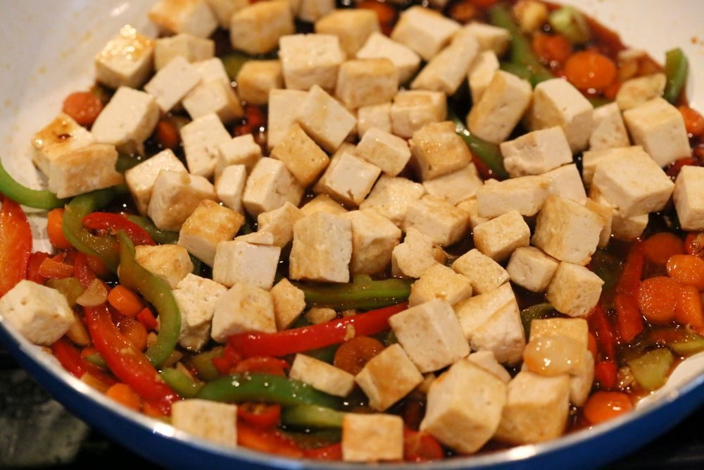 Sticky Ginger Sesame Tofu and Veggie stir fry with vermicelli or maifun noodles. Easy weekday Dinner. Vegan Gluten-free nut-free Recipe. Use chickpeas or more veggies to make Tofu-free | VeganRicha.com