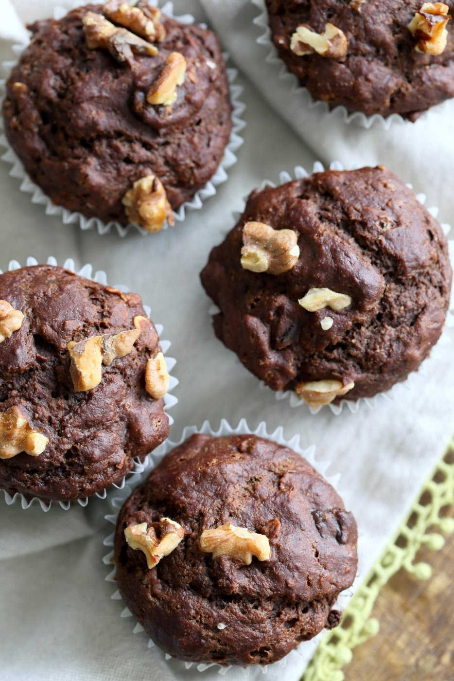 Peanut Butter Chocolate Banana Muffins 1 Bowl / Blender. No Added oil in these tall muffins. Easy 1 Bowl Chocolate Banana Muffins. #Vegan #Soyfree #Recipe #veganricha #Glutenfree option | VeganRicha.com