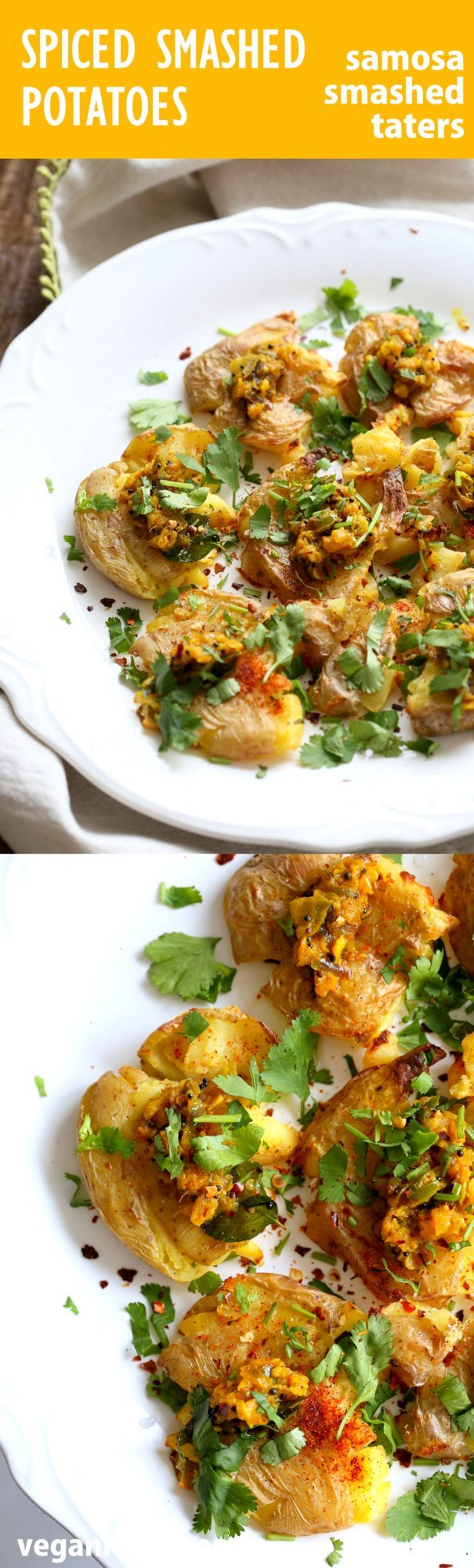 Indian Spiced Smashed Potatoes with Mustard Ginger Tempering. Bonda like Samosa is a spiced potato snack. These smashed potatoes are topped with Bonda style tempering of ginger, chile, turmeric and mustard seeds. Love Indian Snacks Like Samosa or Bonda? Then you will love these. All the flavor, half the work! #Vegan #Glutenfree #veganricha #nutfree #soyfree #Recipe | VeganRicha.com