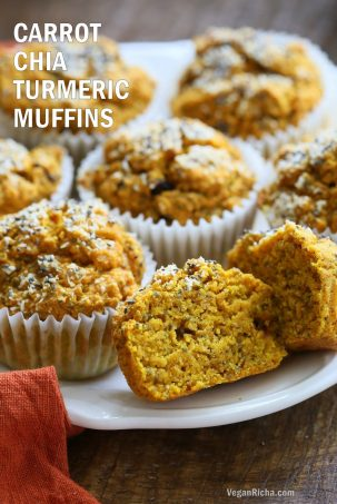 Turmeric Carrot Muffins with Chia & Coconut