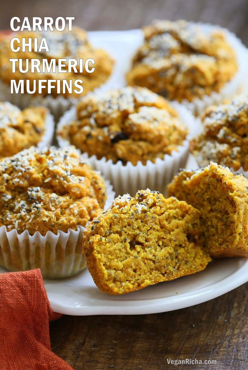 Vegan Turmeric Carrot Muffins. These sunshine muffins have carrots, dry or fresh turmeric, fresh ginger and chia seeds. Coconut rounds up the flavor for a caramelized carrot ginger turmeric profile. Add nuts or dried fruit of choice to these Turmeric muffins. No added sugar or oil needed. #Vegan #Soyfree #Nutfree #Recipe #TurmericCarrotMuffins #VeganRicha Gluten-free option| VeganRicha.com