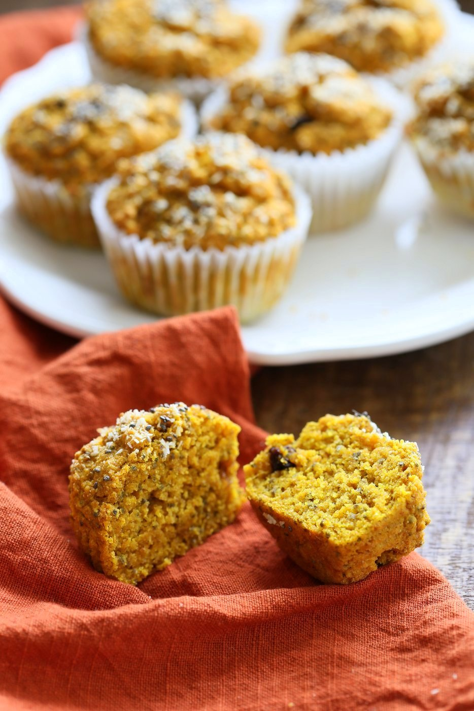 Turmeric Carrot Muffins. These sunshine muffins have carrots, dry or fresh turmeric, fresh ginger and chia seeds. Coconut rounds up the flavor for a caramelized carrot ginger turmeric profile. Add nuts or dried fruit of choice to these Turmeric muffins. No added sugar or oil needed. | VeganRicha.com