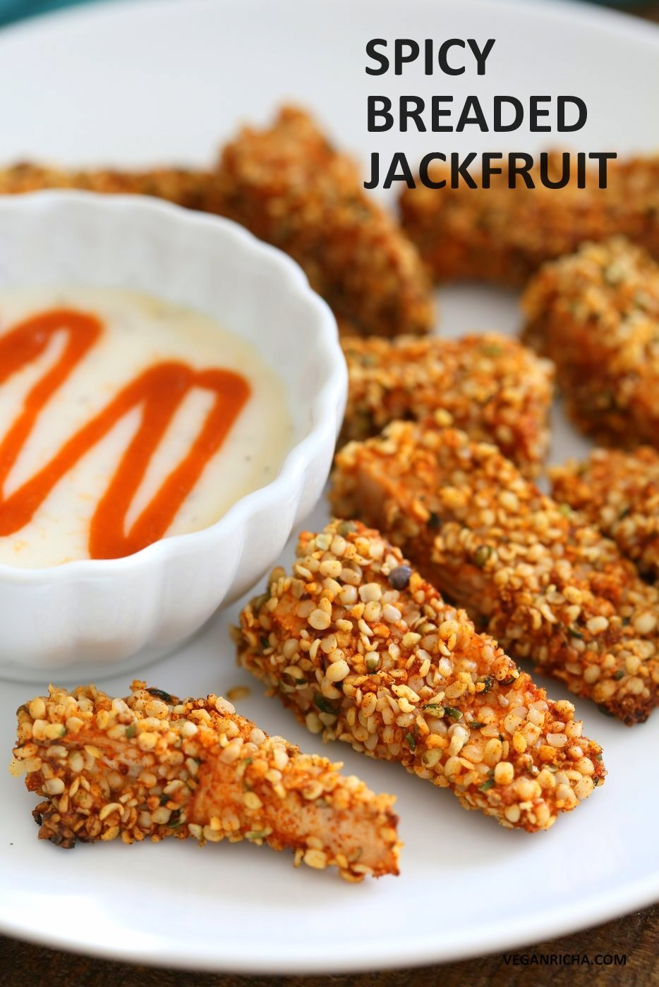 Spicy Hemp Crusted Jackfruit Nuggets. Jackfruit spiced and breaded in hemp and spice mixture and baked. Vegan Gluten-free Soy-free Recipe. | VeganRicha.com