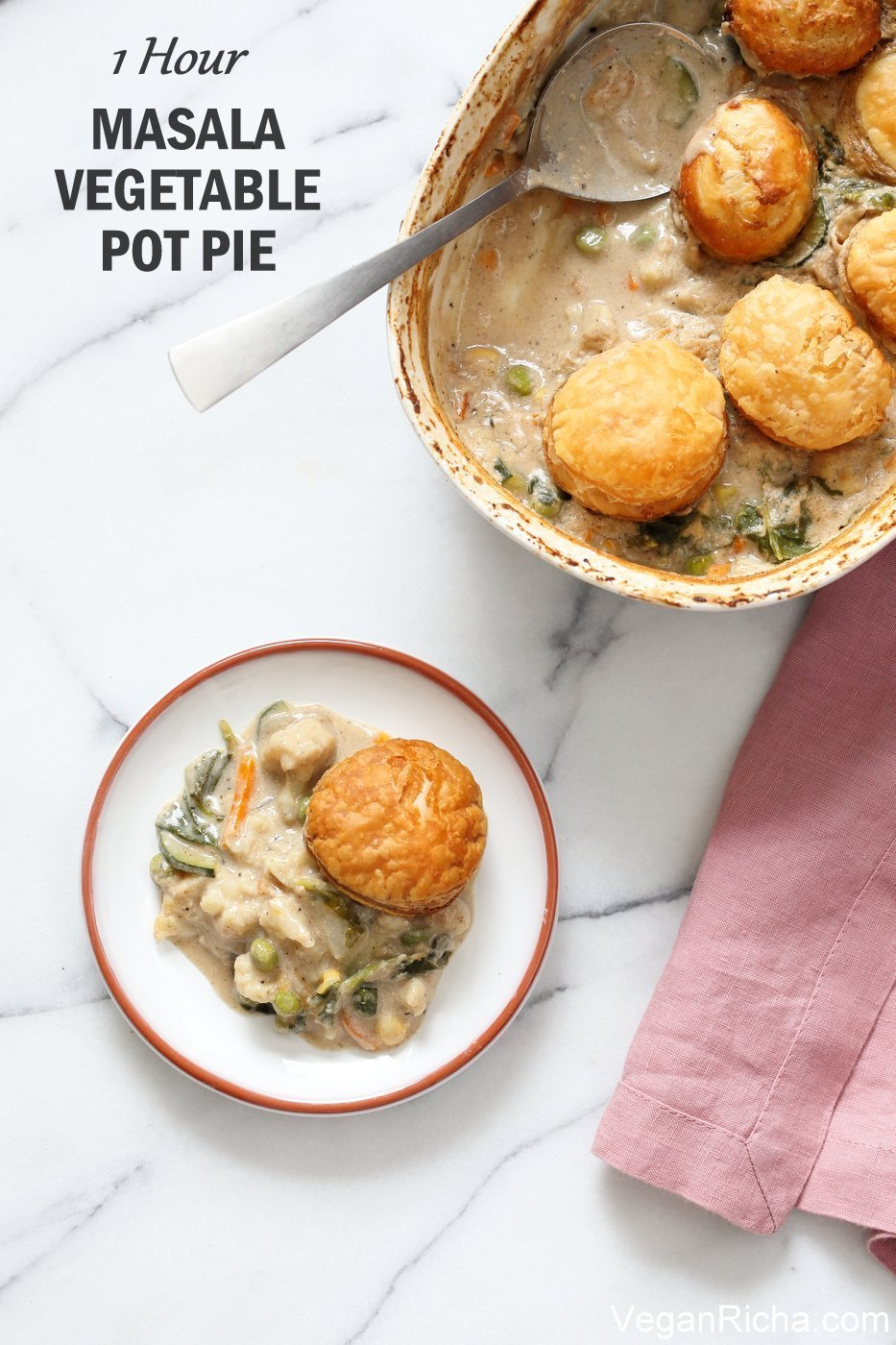 1 Hour Masala Vegetable Pot Pie. This Vegan Pot Pie is amped up with garam masala and spices. Use up seasonal veggies to make this vegetarian pot pie. Top with biscuits, puff pastry or serve as is with garlic bread or rice. Vegan Soy-free Recipe, Gluten-free option | veganricha.com