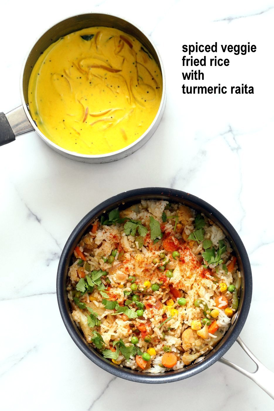 Indian Spiced Masala Veggie Fried Rice with Turmeric Onion Raita. Use up the leftover rice or grains to make this quick spiced fried rice and serve with a simple yogurt raita that is spiced with turmeric and mustard seeds. Vegan Gluten-free Soy-free Indian Recipe | VeganRicha.com