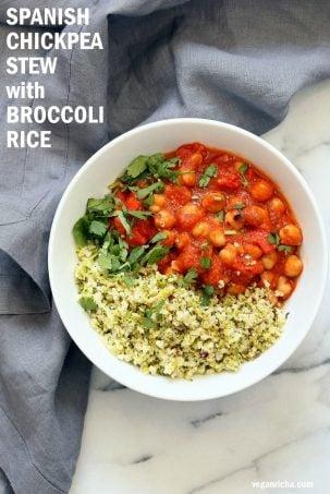 Spanish Chickpea Stew with Cauliflower Broccoli Rice