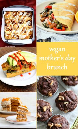 Vegan Mother's Day Recipes. Vegan Mother's Day Brunch Ideas. Cinnamon Rolls, Pancakes, Frittata, Scrambles, Stuffed French Toasts, Muffins and more vegan breakfast brunch recipes for Mother's Day. Gluten-free Options.