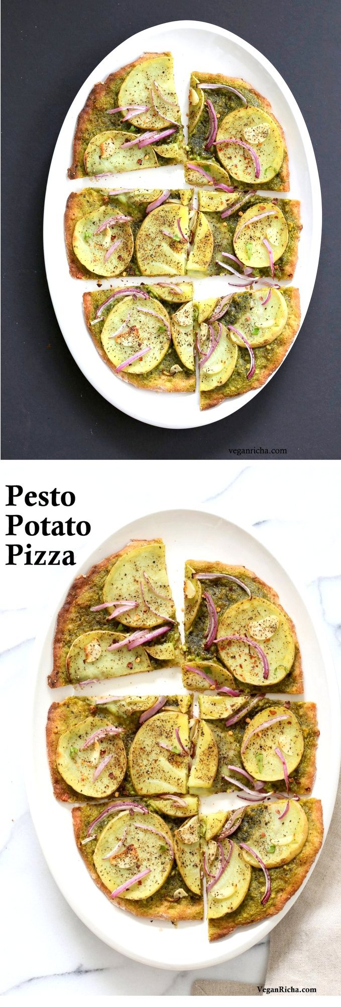 Easy Potato Pesto Pizza with 20 min Thin Crust. Basil Spinach Pesto makes for a refreshing Pizza base topping with thin potato slices, onion and garlic. Vegan Pesto Pizza Bake or make on the grill. Vegan Soyfree Recipe. | VeganRicha.com
