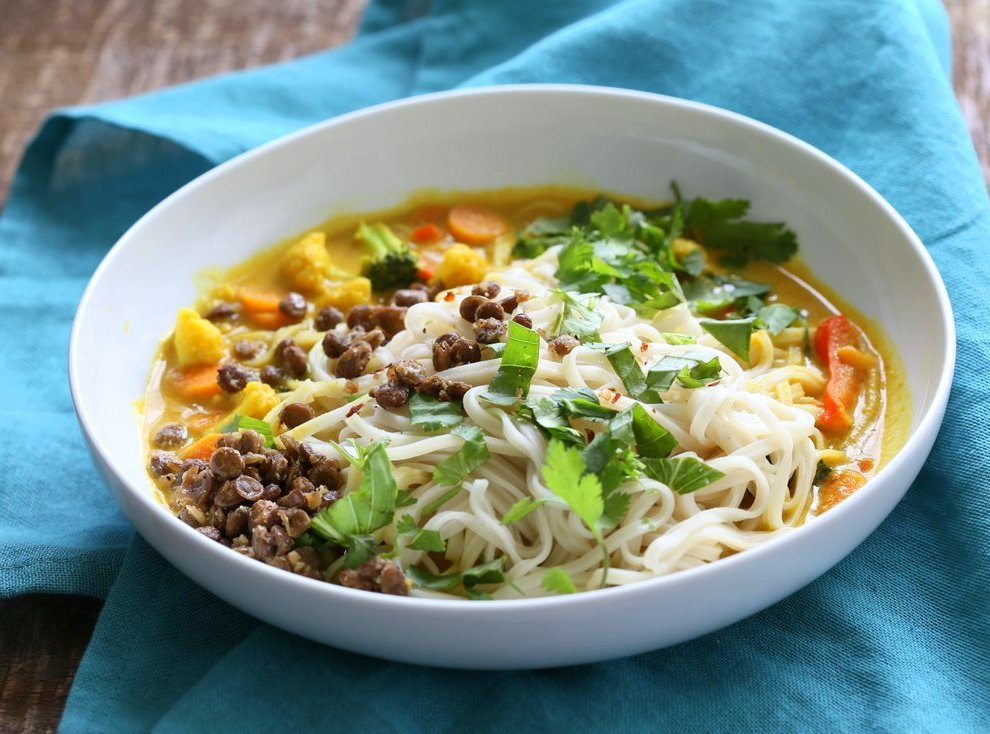 Curry Ramen with Miso Lentils Recipe. Spicy Curry flavored broth, vegetables, noodles, cilantro, basil and maple miso pepper lentils make this a must make vegan ramen. Vegan Gluten-free Soy-free Recipe | VeganRicha.com