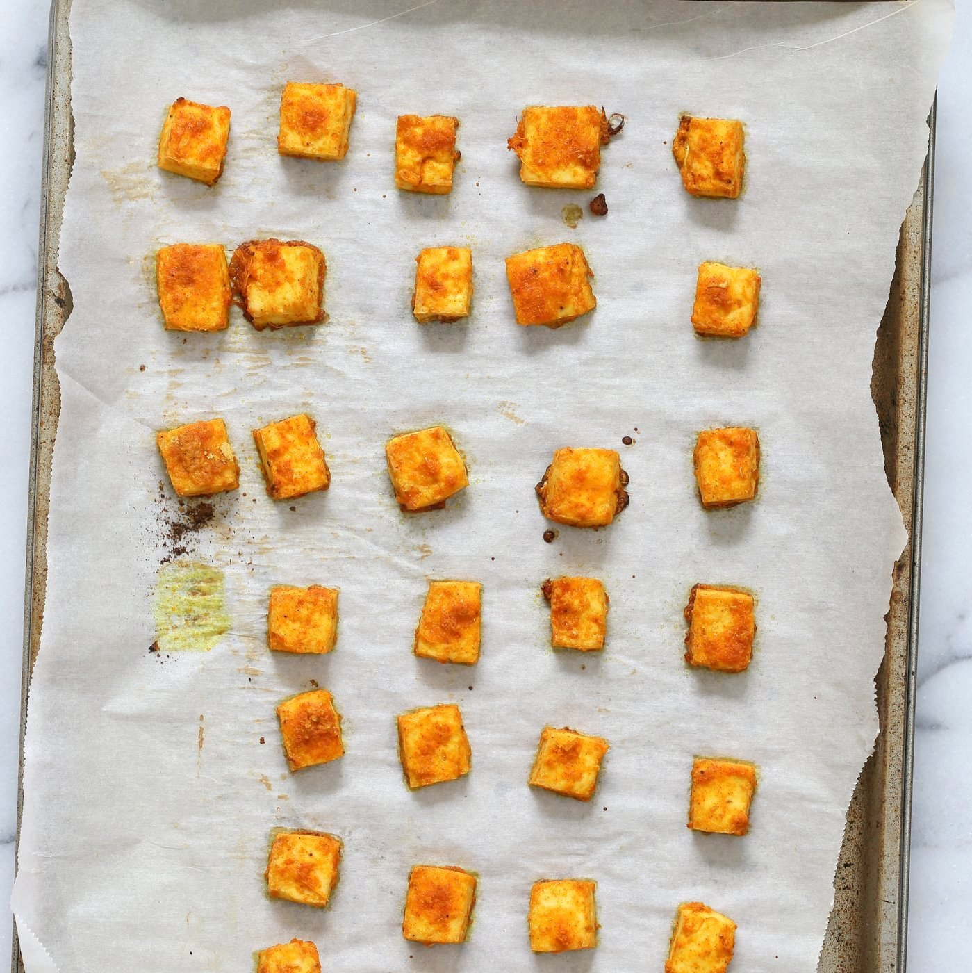 "Restaurant Style Tofu Butter Masala Recipe - Indian Butter Tofu ""Paneer"". Dairy-free Tofu Paneer Butter Masala. Tofu is marinated and baked then simmered in tomato ginger cashew sauce. Vegan Gluten-free Recipe. | VeganRicha.com"