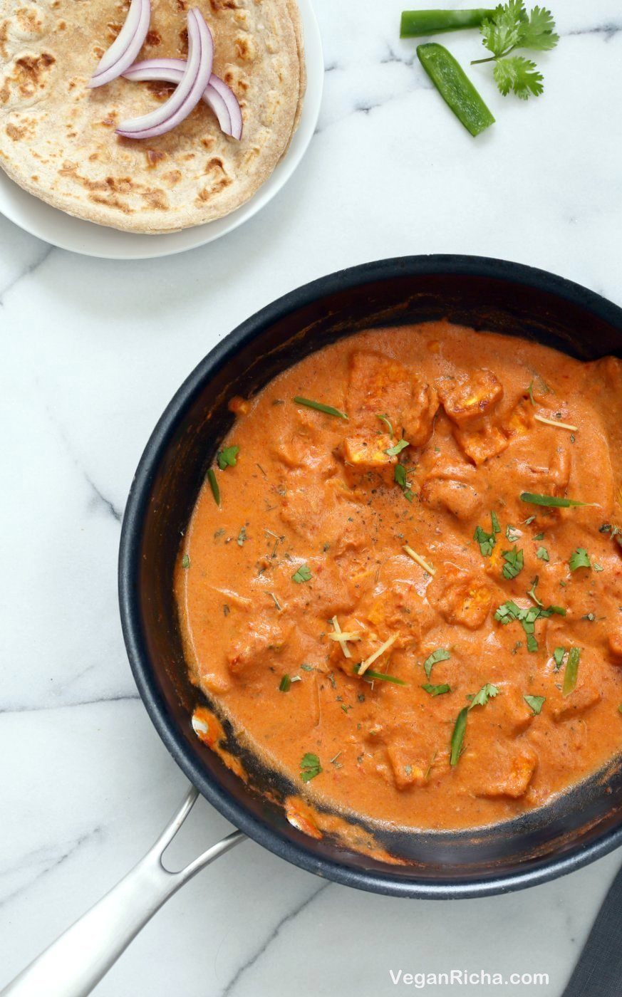 "Restaurant Style Tofu Butter Masala Recipe - Indian Butter Tofu ""Paneer"". Dairy-free Tofu Paneer Butter Masala. Tofu is marinated and baked then simmered in tomato ginger cashew sauce. Vegan Gluten-free Recipe 