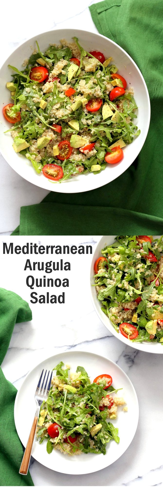 Vegan Mediterranean Quinoa Salad with Arugula, Avocado and Lemon Oregano Olive oil dressing. The Lemon Garlic Dressing brightens up this Summery Quinoa Salad. Perfect to make ahead and serve at Picnics. #Vegan #Glutenfree #Nutfree #Soyfree #Recipe #veganricha | VeganRicha.com