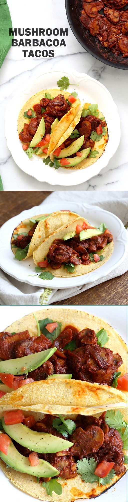 Vegan Barbacoa Mushroom Tacos. These saucy Barbacoa Tacos are super easy and versatile. Use the from scratch chile sauce with beans, lentils or other shredded vegetables for variation. Vegan Barbacoa Recipe. #Glutenfree #Nutfree #soyfree #Recipe #veganricha | VeganRicha.com