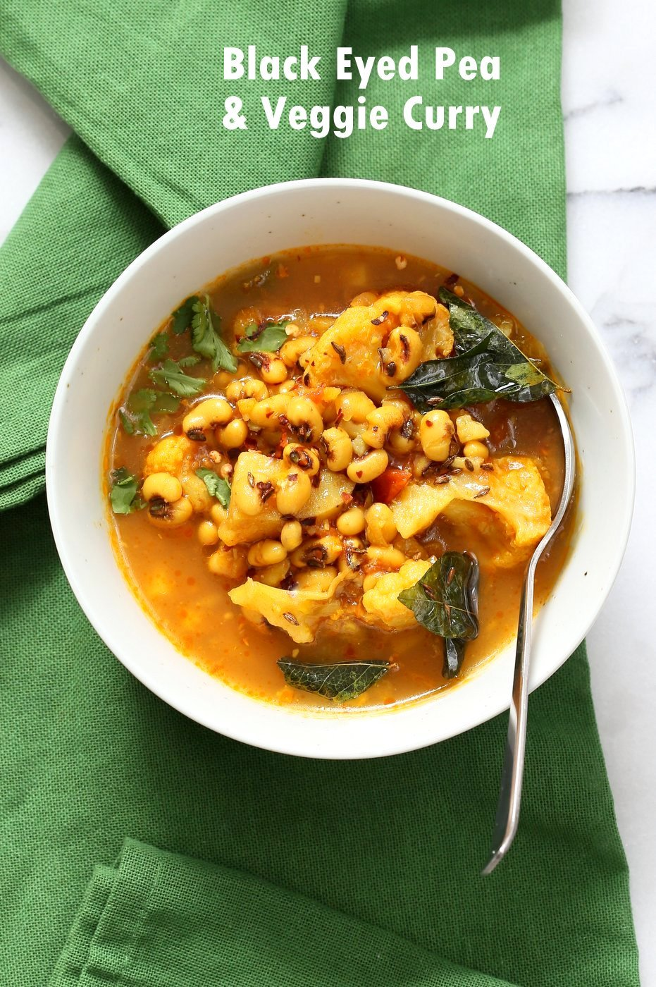 This coconutty Black Eyed Pea stew with Cauliflower and Potatoes is hearty and delicious. Instant Pot Black Eyed Pea Curry with vegetables. Saucepan Option. Gobi Aloo Lobia #vegan #glutenfree #soyfree #nutfree #recipe| VeganRicha.com