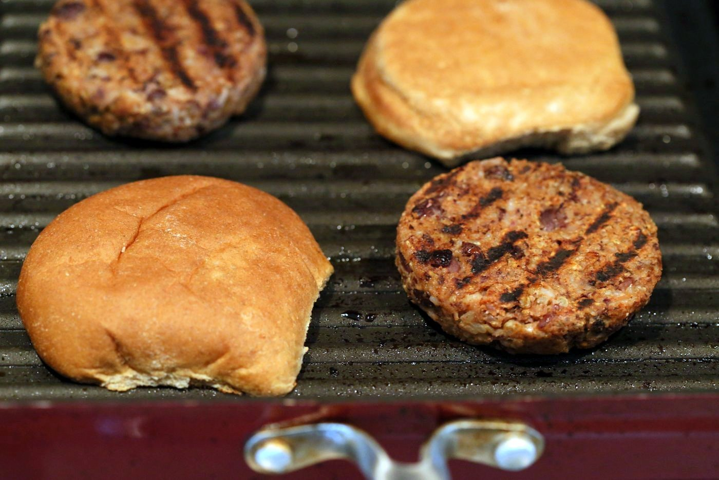 Grillable Veggie Burger. No Nuts. Easy Black Bean Burger with Veggies and spices. Pan fry, Bake or Grill. Serve with BBQ Sauce and other fix ins. Vegan Burger Recipe. Gluten-free option. Nut-free. Soy-free option   VeganRicha.com