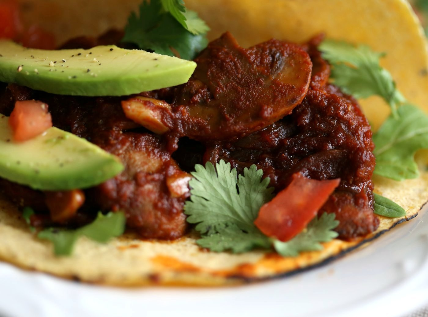 Vegan Barbacoa Mushroom Tacos . This Barbacoa Sauce is super easy and versatile. Use it with beans, lentils or other shredded vegetables for variation. Vegan Barbacoa Recipe. Gluten-free Nut-free Recipe | VeganRicha.com