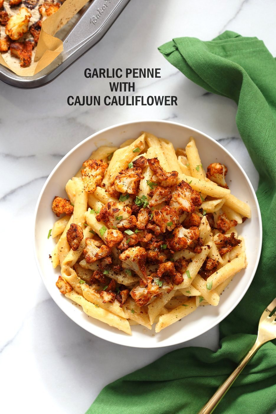 Garlic Sauce Pasta with Baked Cajun Cauliflower #vegan #veganricha