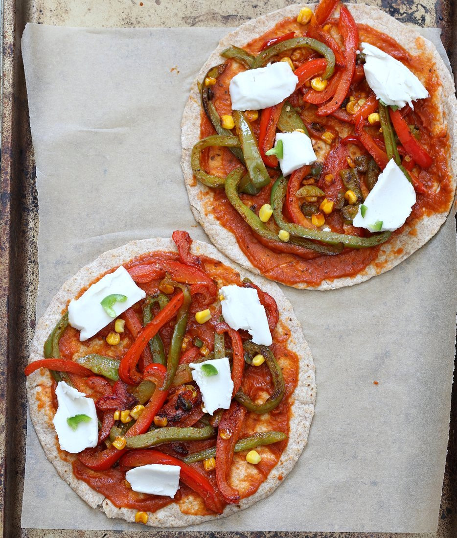 Easy Baked or Grilled Vegetable Fajitas Tortilla Pizza. Toss the peppers, corn and veggies in smoky Fajita Seasoning, then grill with vegan cheese. Top with salsa or other toppings. Vegan Soyfree Recipe. Easily Glutenfree | VeganRicha.com