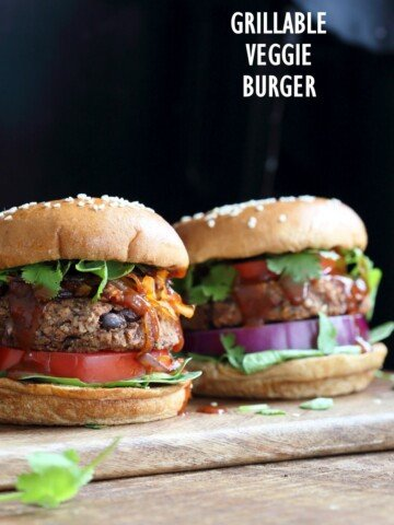 Grillable Veggie Burger. No Nuts. Easy Black Bean Burger with Veggies and spices. Pan fry, Bake or Grill. Serve with BBQ Sauce and other fix ins. Vegan Burger Recipe. Gluten-free option. Nut-free. Soy-free option | VeganRicha.com