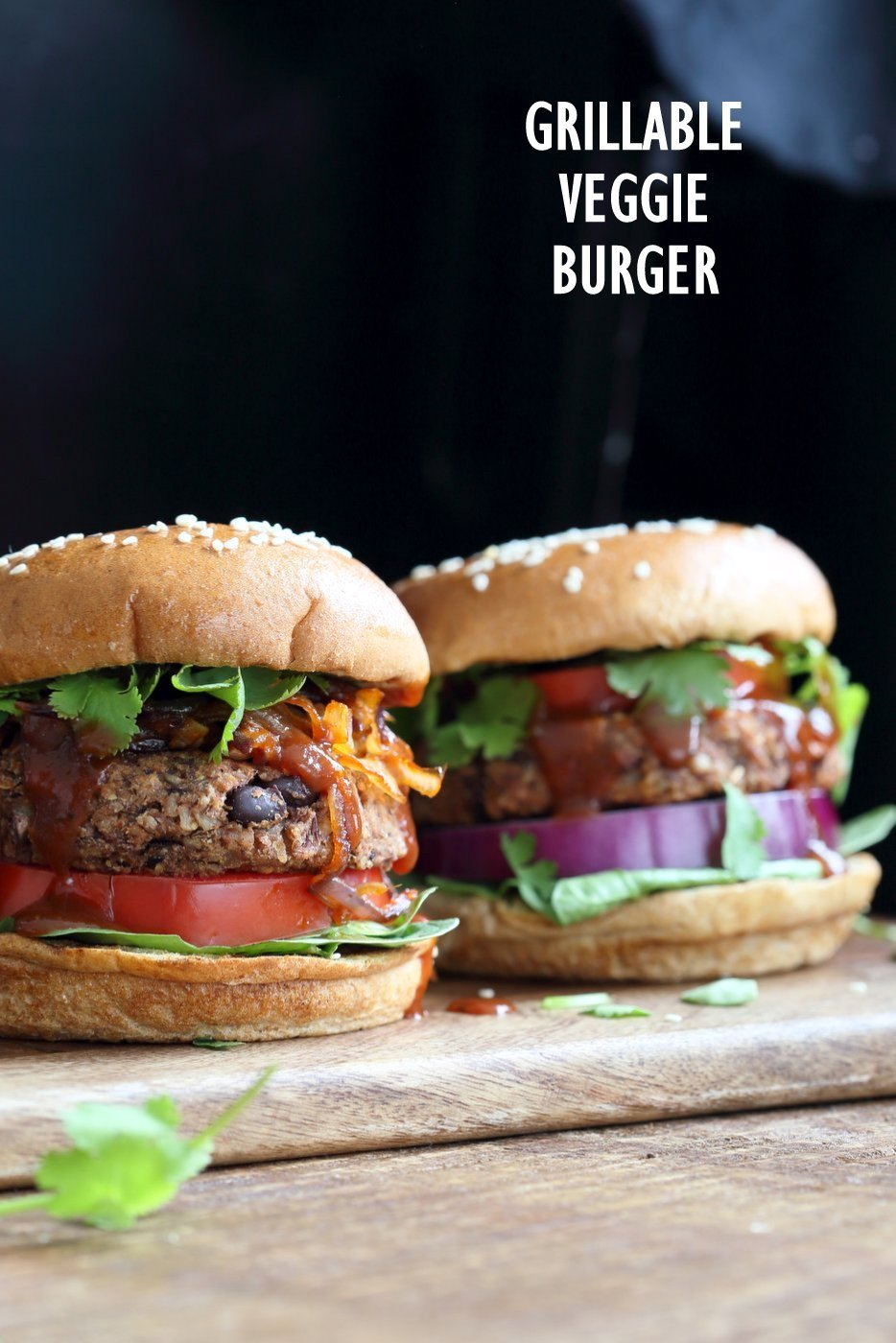 Grillable Veggie Burger. No Nuts. Easy Sunflower seed Black Bean Burger with Veggies and spices. Pan fry, Bake or Grill. Serve with BBQ Sauce and other fix ins. Vegan Burger Recipe. Gluten-free option. Nut-free. Soy-free option | VeganRicha.com