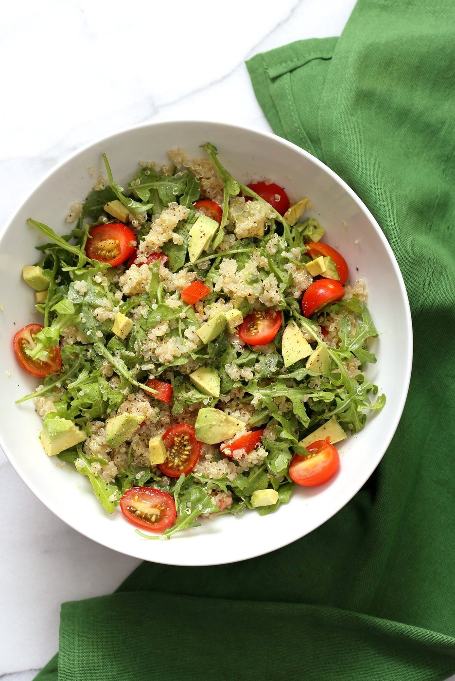 Mediterranean Quinoa Salad with Arugula, Avocado and Lemon Oregano Olive oil dressing. The Mediterranean Lemon Oregano Dressing brightens up this Summery Quinoa Salad. Perfect to make ahead and serve at Picnics. Vegan Gluten-free, Nut-free Soy-free Recipe | VeganRicha.com