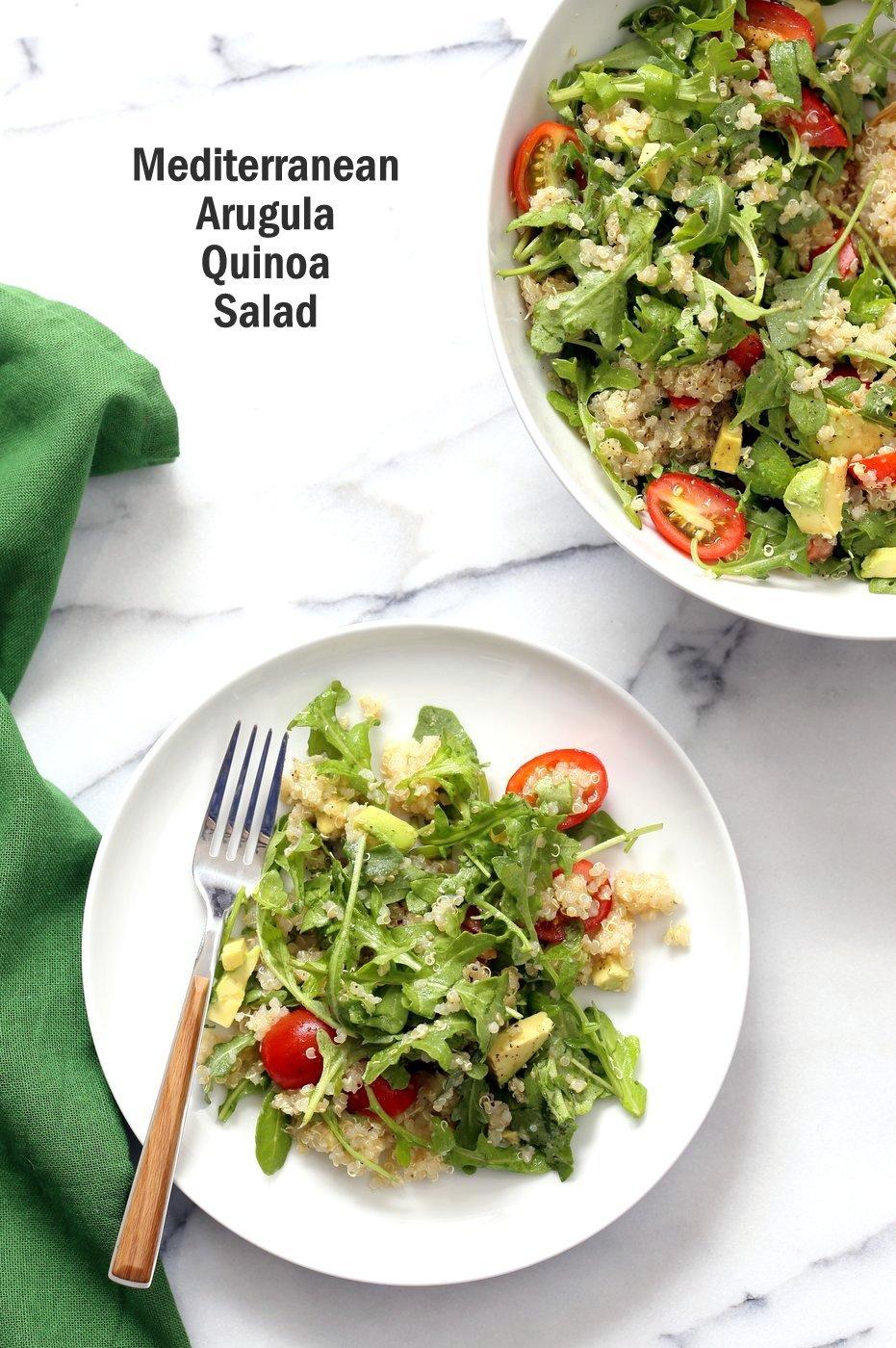 Mediterranean Quinoa Salad With Arugula Avocado Vegan Richa