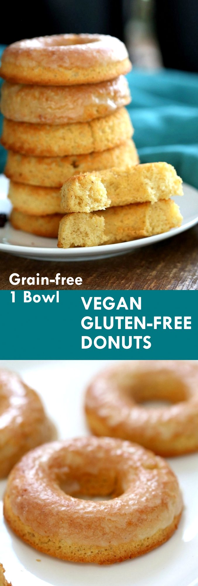 Vegan Gluten-free Lemon Donuts. These baked gluten free doughnuts are amazingly soft. They are grain-free, Easy, Zesty. Use lemon or lime. Baked Gluten-free Doughnuts. Vegan Glutenfree Grainfree Soyfree Recipe. Can be nutfree. VeganRicha.com