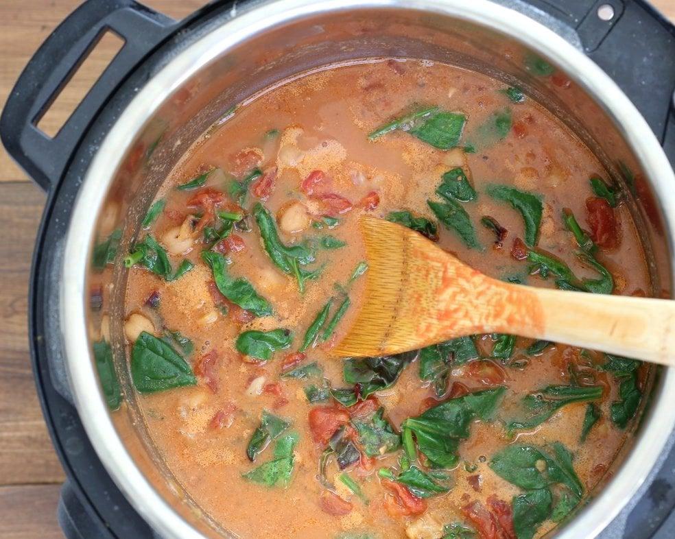 Instant Pot Chana Saag - Chickpea Spinach Curry. Easy 1 pot Chickpea Curry. Saucepan option. Vegan Gluten-free Nut-free Recipe   VeganRicha.com