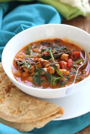 Instant Pot Chana Saag - Chickpea Spinach Curry. Easy 1 pot Chickpea Curry. Saucepan option. Vegan Gluten-free Nut-free Recipe | VeganRicha.com