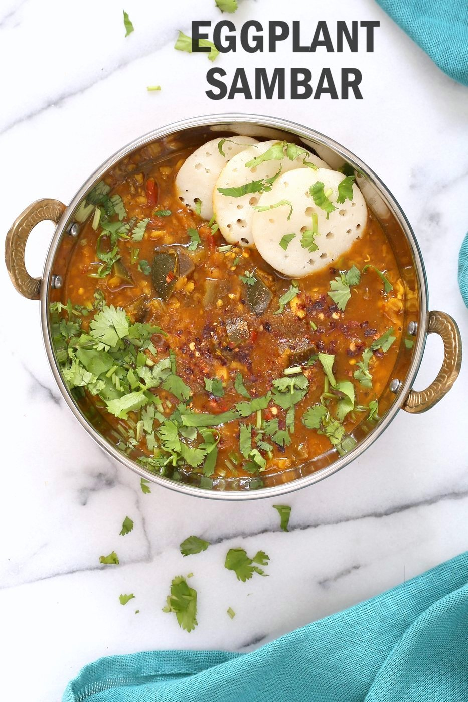 Eggplant Sambar Recipe - Indian Yellow Lentil Tamarind Dal. Toor Dal Sambar with Eggplant or other seasonal veggies. Instant Pot or Saucepan Vegan Gluten-free Soy-free Nut-free Recipe | VeganRicha.com