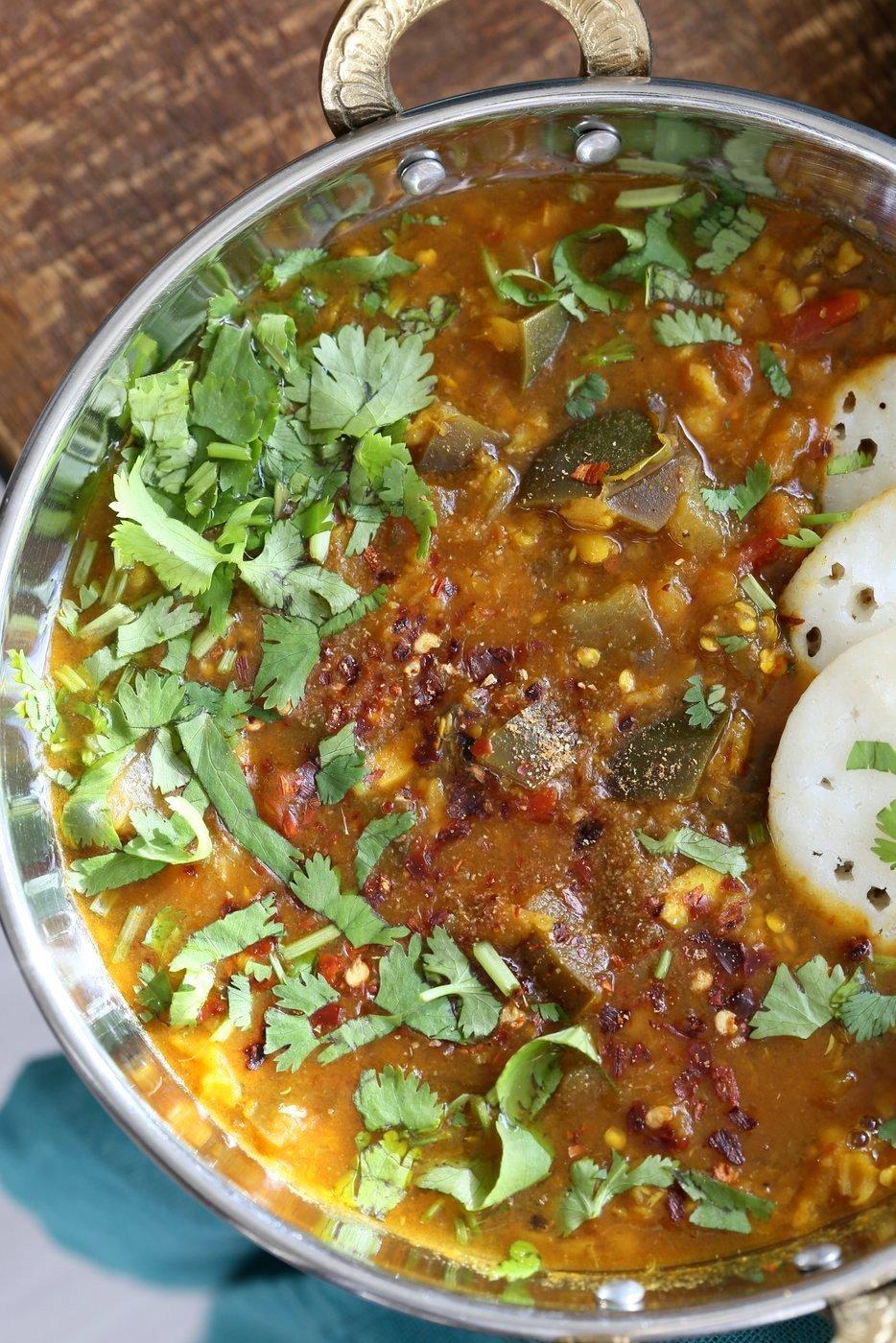 Eggplant Sambar Recipe - Indian Yellow Lentil Tamarind Dal. Toor Dal Sambar with Eggplant or other seasonal veggies. Instant Pot or Saucepan Vegan Gluten-free Soy-free Nut-free Recipe   VeganRicha.com