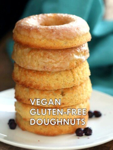 Vegan Gluten-free Lemon Donuts. These baked gluten free doughnuts are amazingly soft. They are grain-free, Easy, Zesty. Use lemon or lime. Baked Gluten-free Doughnuts. Vegan Glutenfree Grainfree Soyfree Recipe. Can be nutfree. VeganRicha.com #glutenfree #veganricha #vegan