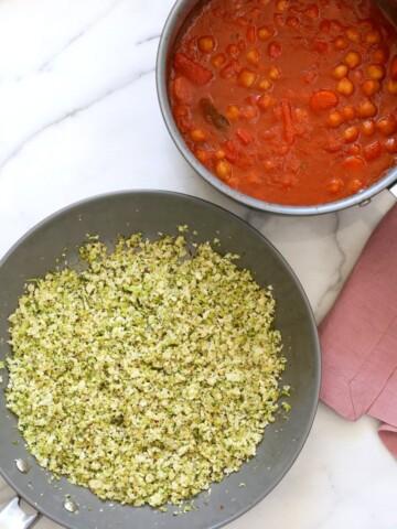 Easy Broccoli Cauliflower Rice. How to make Cauliflower Rice. How to make Cumin scented Broccoli Rice. Vegan Gluten-free Soy-free Nut-free Recipe | VeganRicha.com