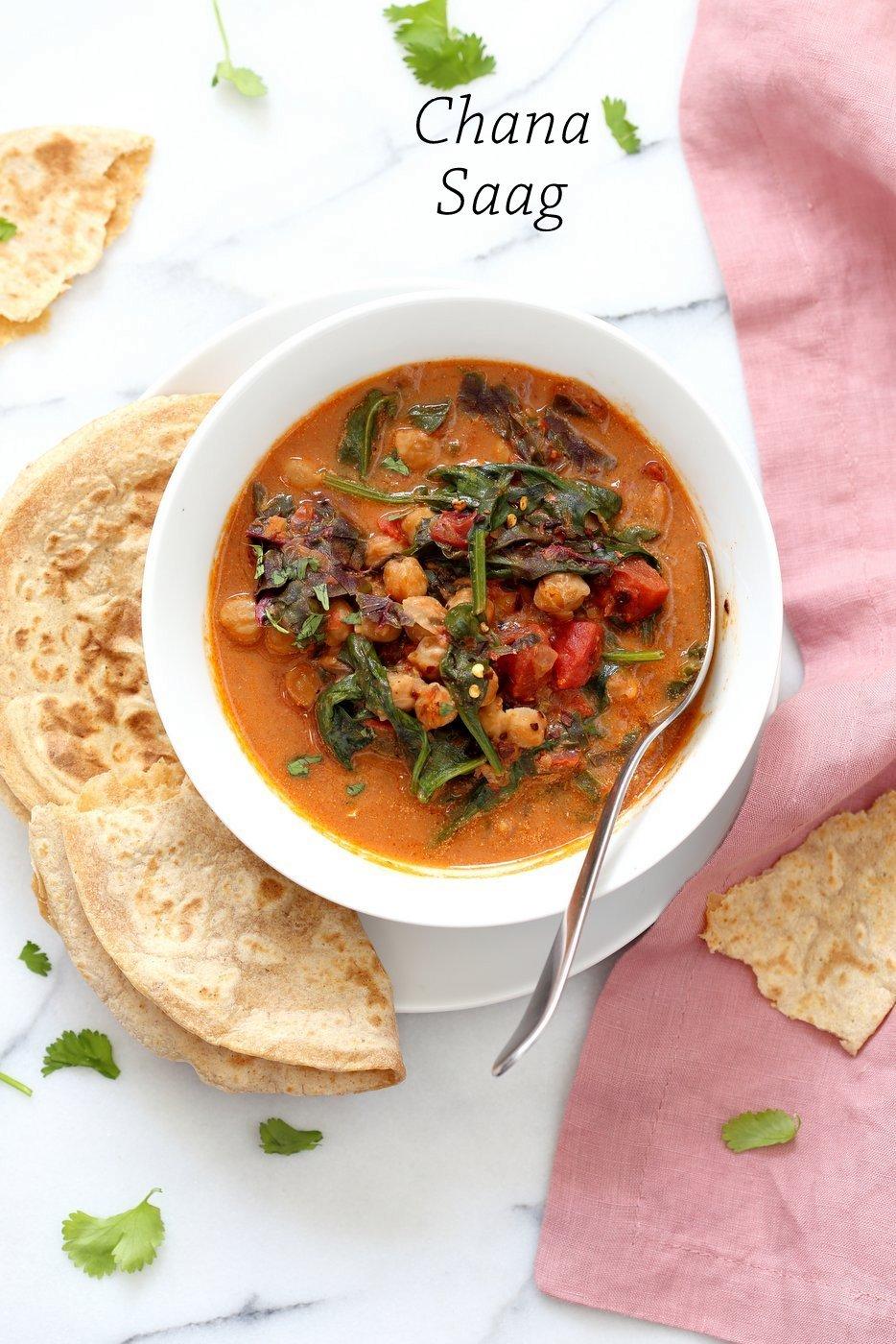 Instant Pot Chana Saag - Chickpea Spinach Curry. Easy 1 pot Chickpea Curry. Saucepan option. Vegan Gluten-free Nut-free Recipe Chana Palak - Palak Chole   VeganRicha.com