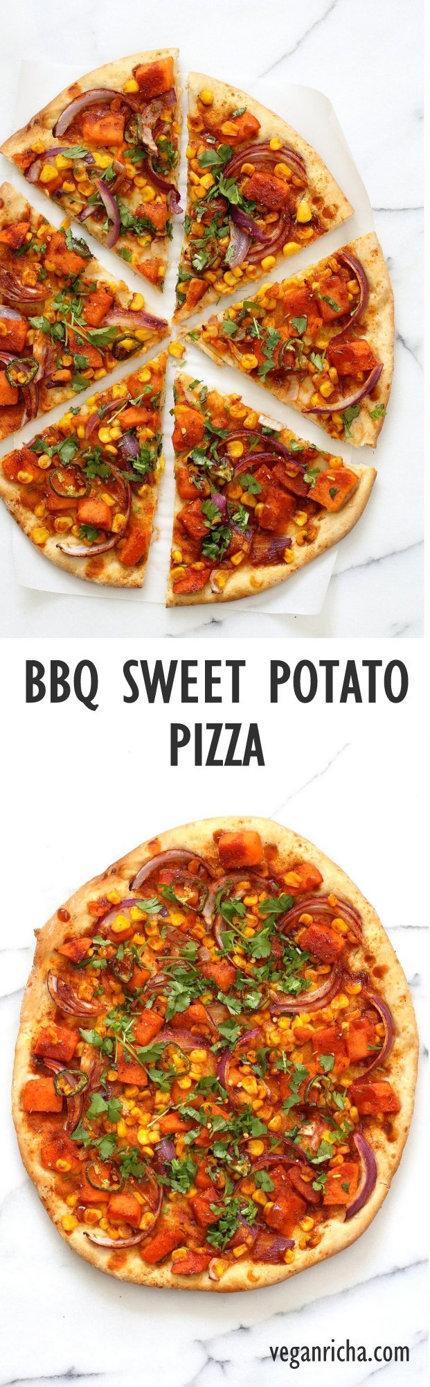BBQ Sweet Potato Pizza. Easy Summer Pizza with Sweet Potato, Corn, Jalapeno tossed in homemade BBQ Seasoning and dressed in Barbecue sauce. Grill or bake or make into a quesadilla. Vegan Nut-free Barbecue Pizza Recipe. Soy-free Gluten-free option | VeganRicha.com