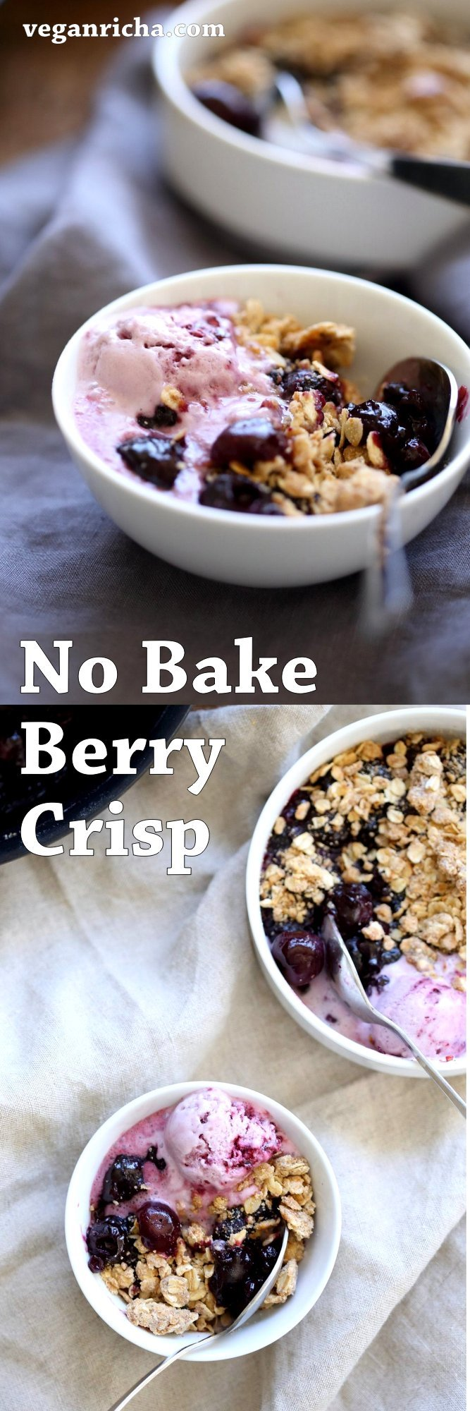 No Bake Vegan Cherry Blueberry Crisp. 20 Minute 1 Pot Berry Crisp. Seasonal Berries cooked to a compote and topped with Toasted Crisp Oat crumble. Serve with favorite ice cream. Vegan Recipe. Can be gluten-free, nut-free   VeganRicha.com