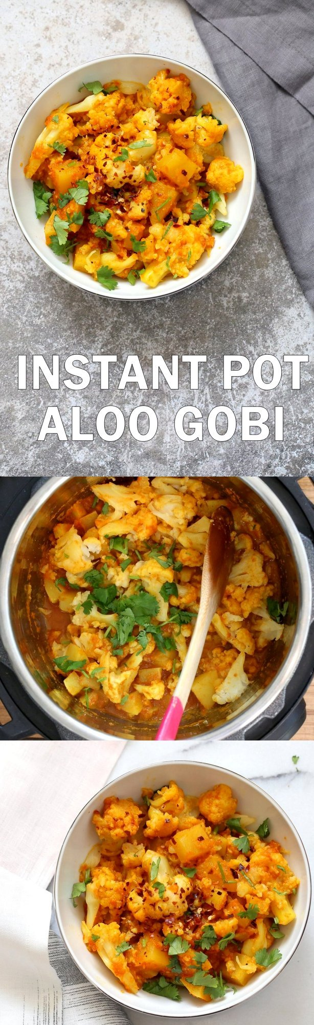 Instant Pot Aloo Gobi - Curried Potato Cauliflower. 1 Pot Aloo Gobhi. Indian Gobi Aloo Masala. Vegan Gluten-free Soy-free Nut-free Recipe | VeganRicha.com