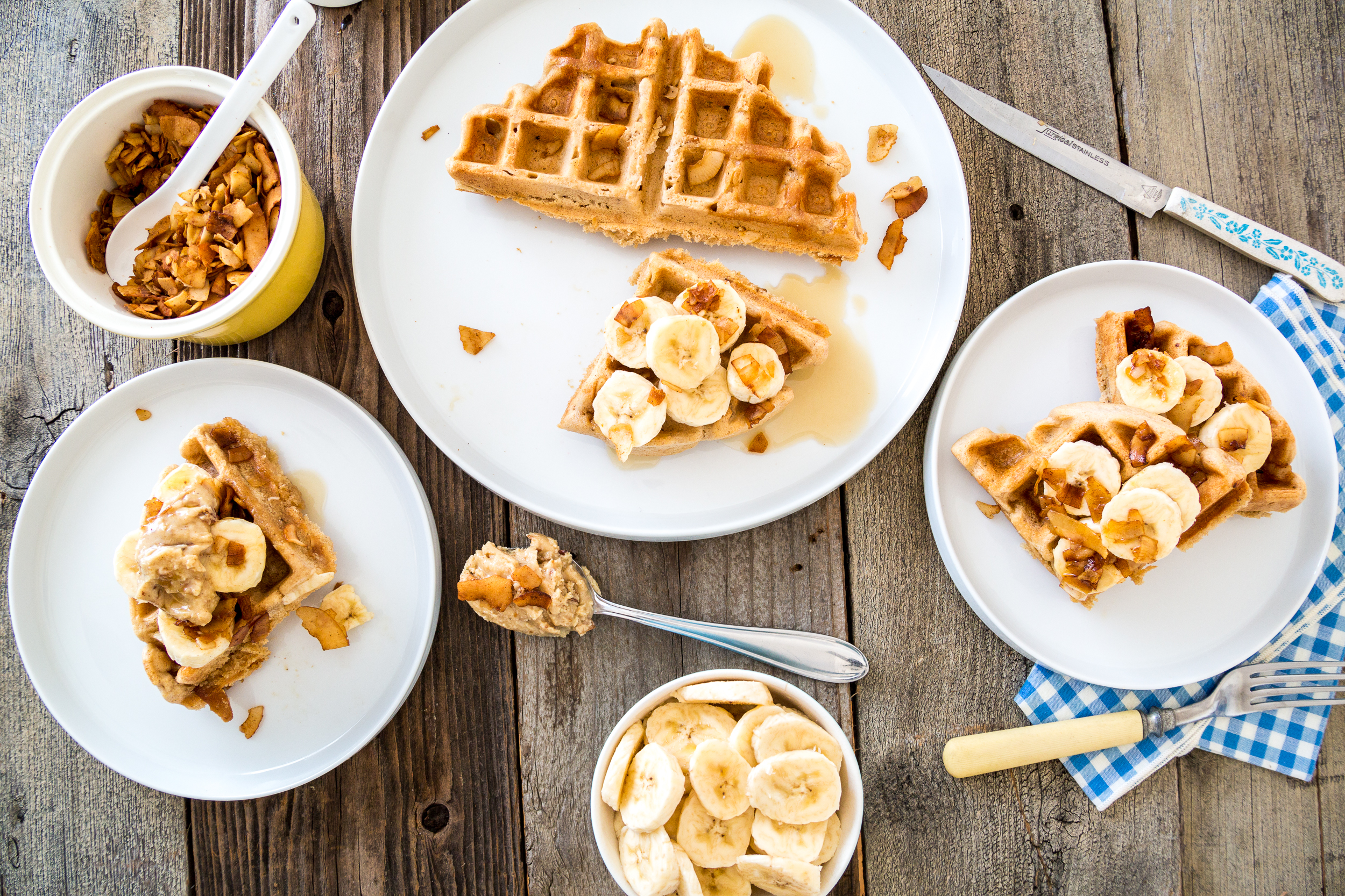 Vegan Maple Bacon PB Waffles