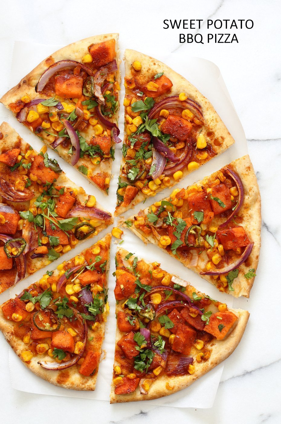 BBQ Sweet Potato Pizza. Easy Summer Pizza with Sweet Potato, Corn, Jalapeno tossed in homemade BBQ Seasoning and dressed in Barbecue sauce. Grill or bake or make into a quesadilla. Vegan Nut-free Recipe. Soy-free Gluten-free option | VeganRicha.com