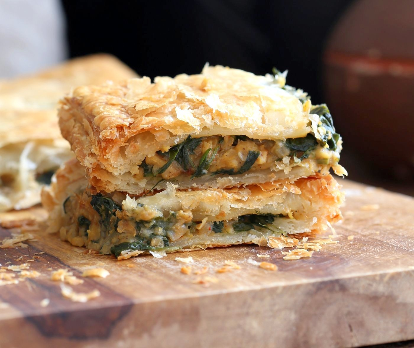 Chickpea Spinach Pie with Berbere Spice. Easy Chickpea Spinach Pastry for holidays and company with vegan puff pastry. Use spices or blends of choice. Use lentils for variation. Vegan Soy-free Nut-free Recipe. | VeganRicha.com