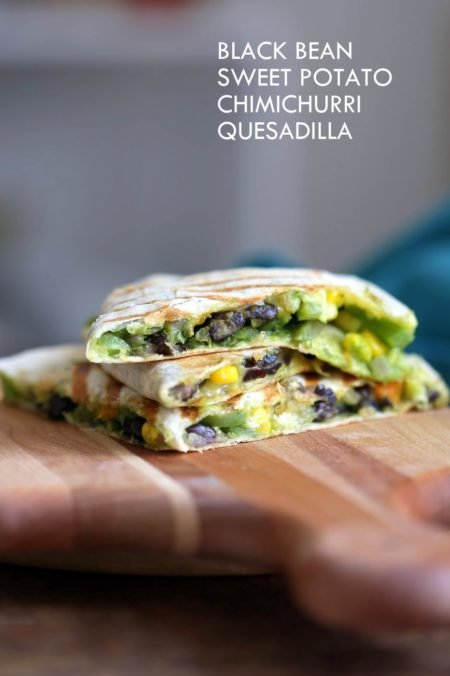 Chimichurri Sweet Potato Black Bean Quesadilla - 10 minute Grilled Quesadillas with Beans. Roasted Sweet Potatoes, Peppers and Chimichurri. #Vegan #Nutfree #Soyfree #Recipe. Can be #Glutenfree #veganricha ! VeganRicha.com