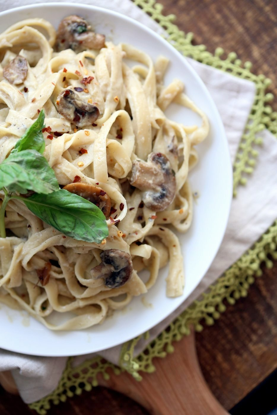 The Best Vegan Mushroom Garlic Alfredo with no nuts. Garlicky, Creamy, Amazing Vegan Fettuccine Alfredo. Nut-free, Easily Gluten-free, soy-free. | VeganRicha.com