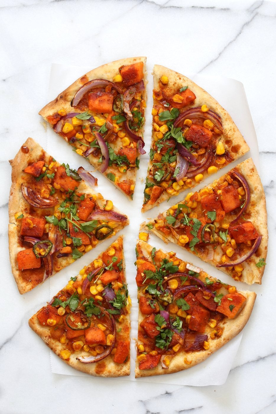 BBQ Sweet Potato Pizza. Easy Summer Pizza with Sweet Potato, Corn, Jalapeno and Barbecue sauce. Grill or bake or make into a quesadilla. Vegan Nut-free Recipe. Soy-free Gluten-free option | VeganRicha.com