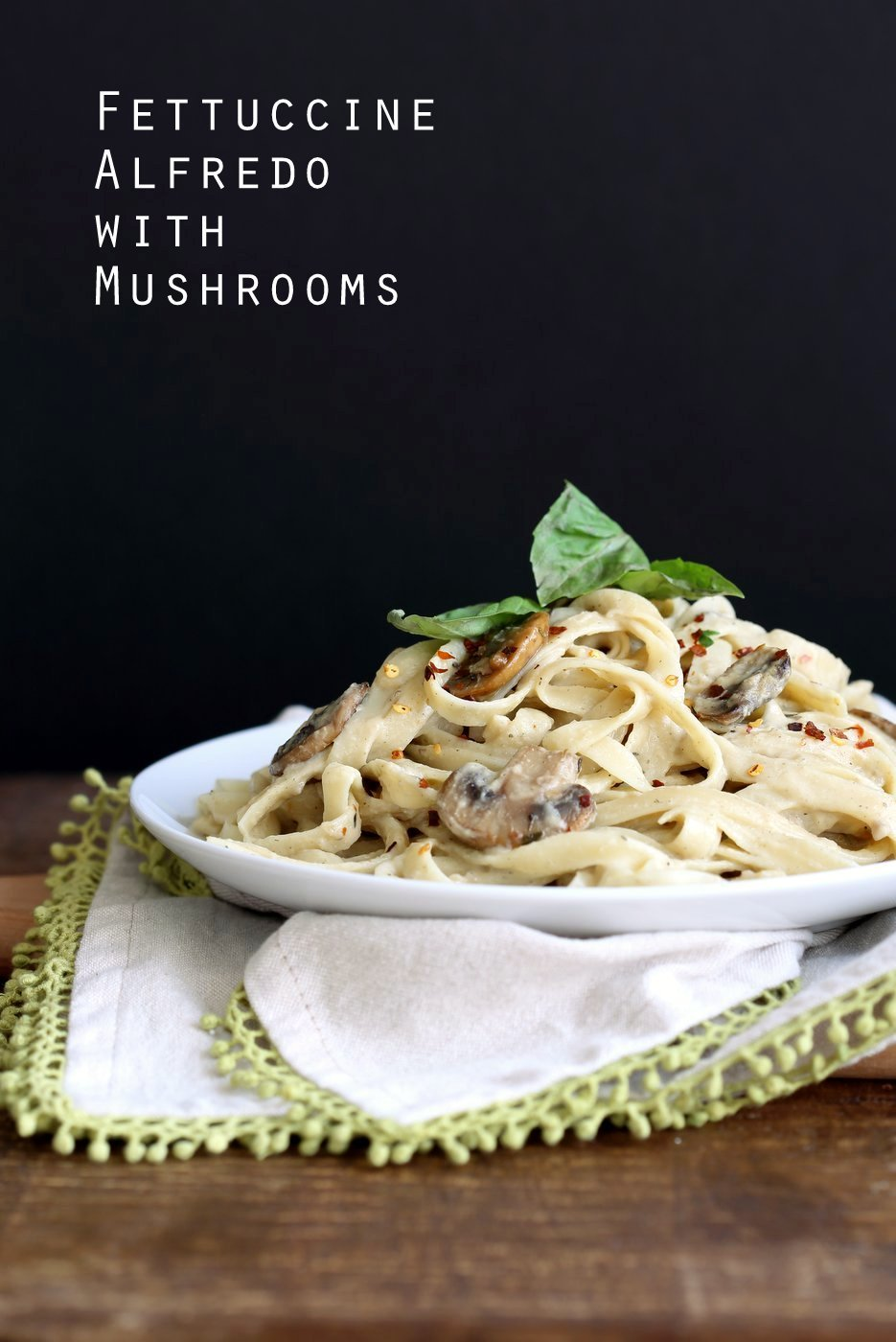 The Best Vegan Mushroom Garlic Alfredo with no nuts. Garlicky, Creamy, Amazing Vegan Fettuccine Alfredo. Nut-free, Easily Gluten-free, soy-free. 21 gm of protein per serving! | VeganRicha.com