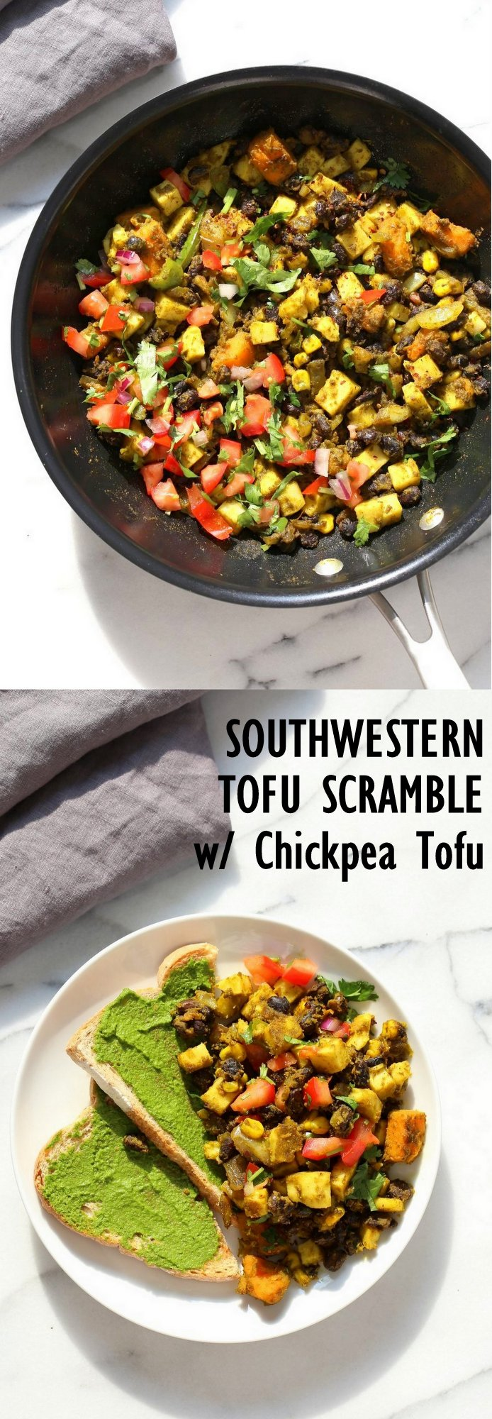 Southwestern Tofu Scramble with Chickpea Tofu. Scrambled Tofu without Soy tofu! Soy-free Breakfast Scramble with Black beans, Veggies, Sweet Potatoes, Spices, Chickpea flour Tofu. Double Protein Savory Vegan Breakfast. Gluten-free Soy-free Nut-free | VeganRicha.com