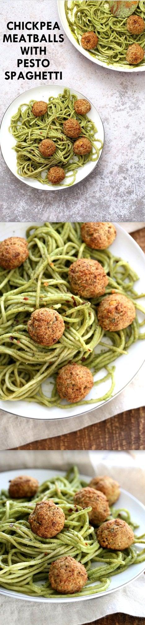 "AmazingPesto Spaghetti with Vegan Meatballs made with Chickpeas. 24 Gm of Protein per Serve. Vegetarian Chickpea Walnut ""meatballs"" over pesto pasta. Ready in 40 Minutes. Vegan Soyfree Recipe. Can be Glutenfree | VeganRicha.com"