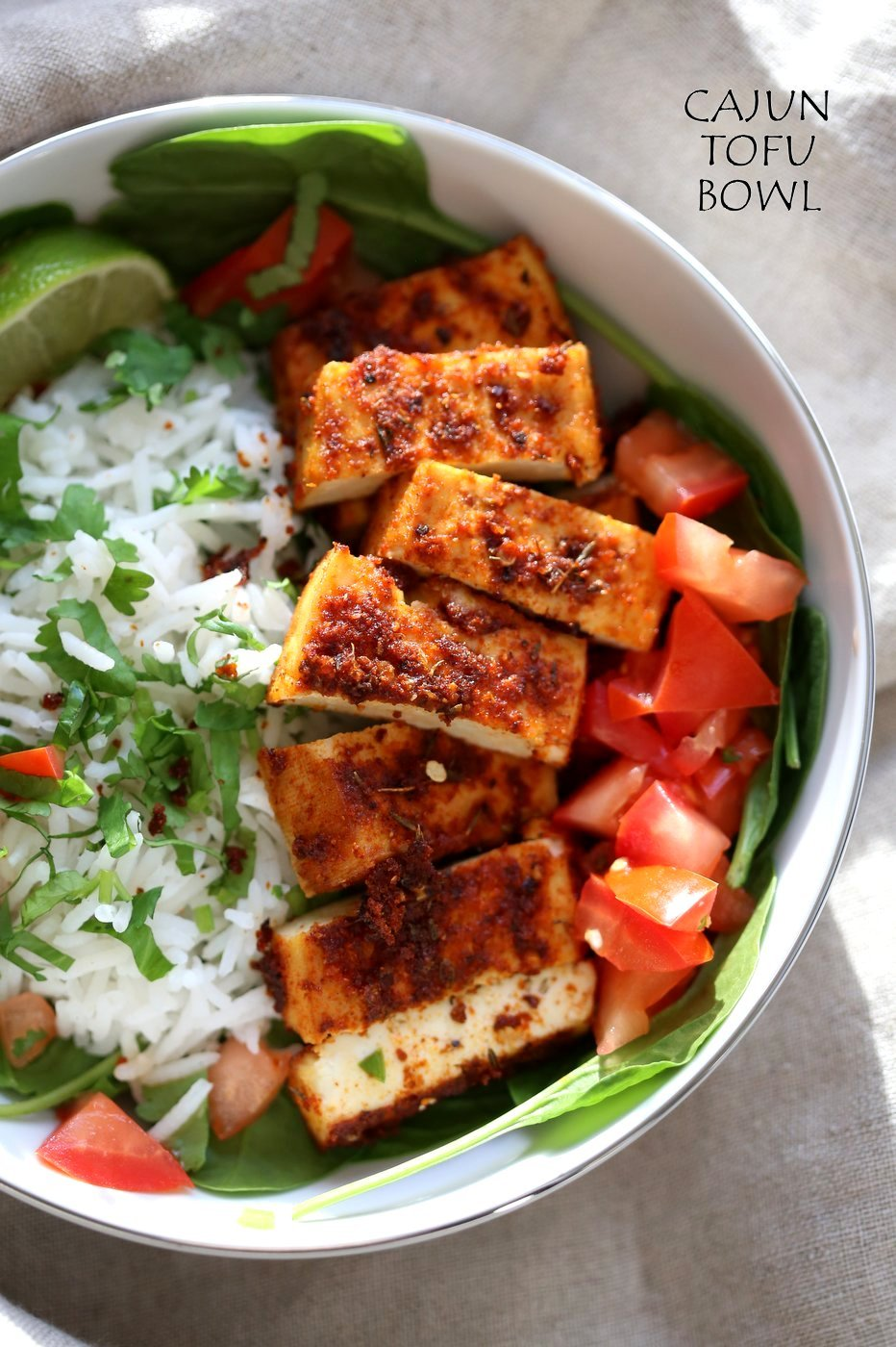 Cajun Tofu with Cilantro Lime Rice